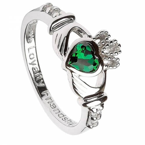 May Birthstone Claddagh Ring - Silver