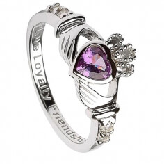 June Birthstone Claddagh Ring - Silver