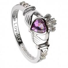 June Birthstone Claddagh Ring - Silver