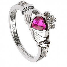 July Birthstone Claddagh Ring - Silver