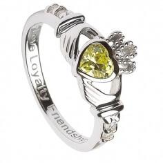 August Geburtsstein Claddagh Ring - Silber