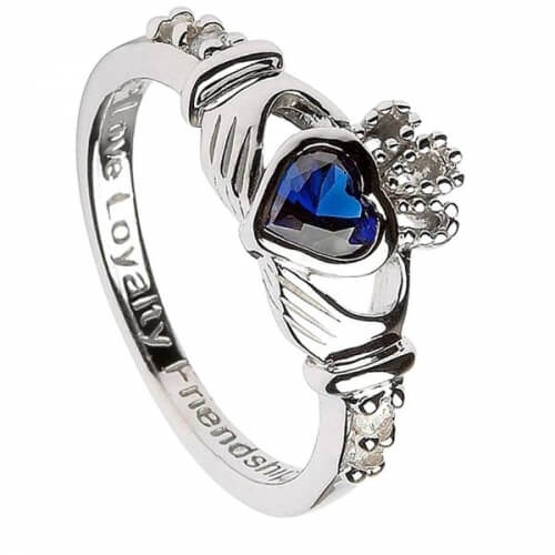 September Birthstone Claddagh Ring - Silver