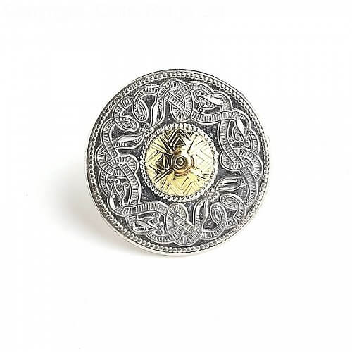 Large Celtic Warrior Tie Pin 18k Bead
