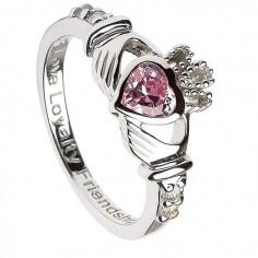 Oktober Geburtsstein Claddagh Ring - Silber