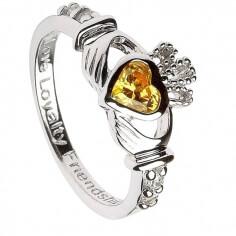 November Birthstone Claddagh Ring - Silver