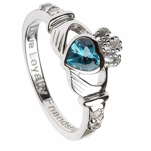 December Birthstone Claddagh Ring - Silver