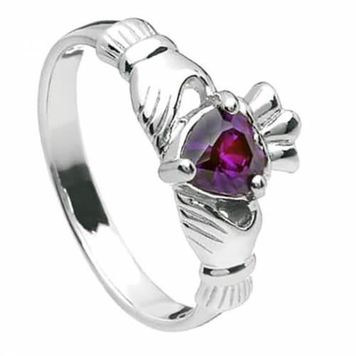 Februar Claddagh Ring - Silber