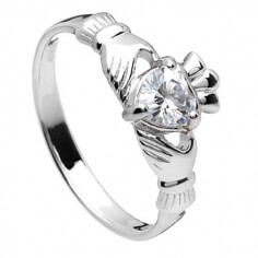 April Claddagh Ring - Silber