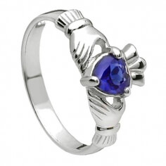 September Claddagh Ring - Silver