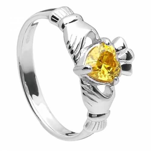 November Claddagh Ring - Silver