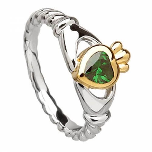Green CZ Claddagh with Trinity Knots - Silver and 10K Gold