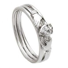 Silberner Claddagh-Zirkonia-Ring