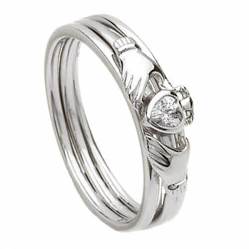 Silver Claddagh Cubic Zirconia Ring