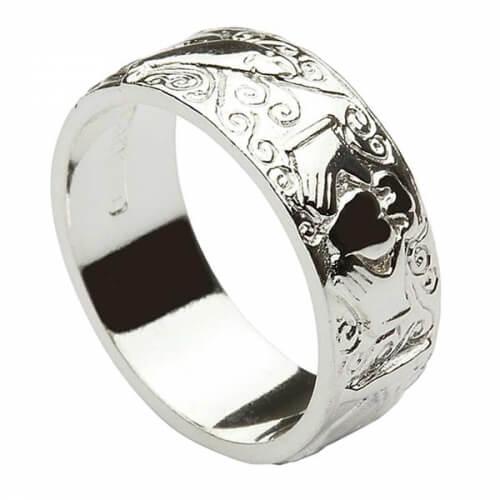 Eingraviertes Claddagh-Band für Herren - Silber
