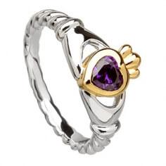 Claddagh Lila Herz Ring - Silber