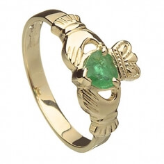 Women's Claddagh Ring with Emerald Heart
