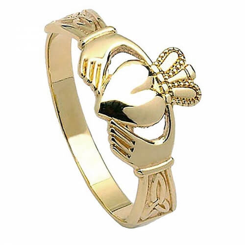 Women's Claddagh with Trinity Knots - Gold