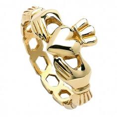 Herren Kettenglied Claddagh Ring - Gelbgold