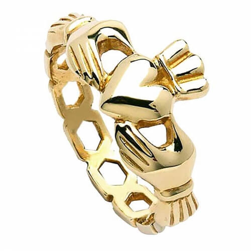 Mens Chain Link Claddagh Ring - Yellow Gold