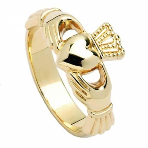 Bague Claddagh à haute couronne - Or jaune