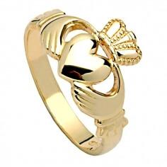 Herren Schwer Claddagh Ring - Gelbgold