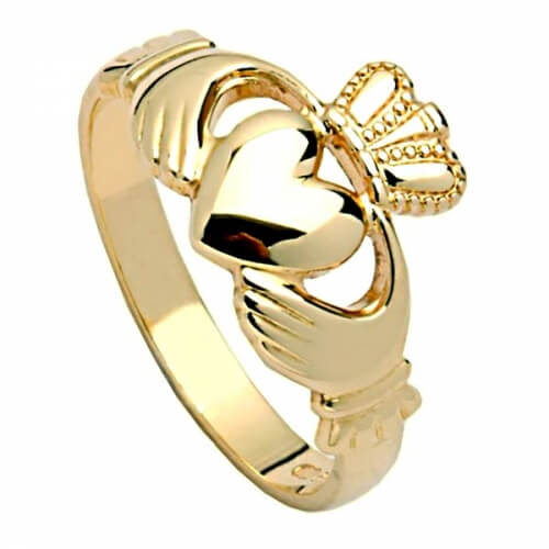 Mens Heavy Claddagh Ring - Yellow Gold