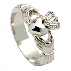 Mens New York Claddagh Ring - Silver