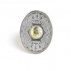 Oval Celtic Warrior Tie Pin 18k Bead