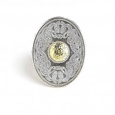 Oval Guerrier Celte Tie Pin 18k Perle