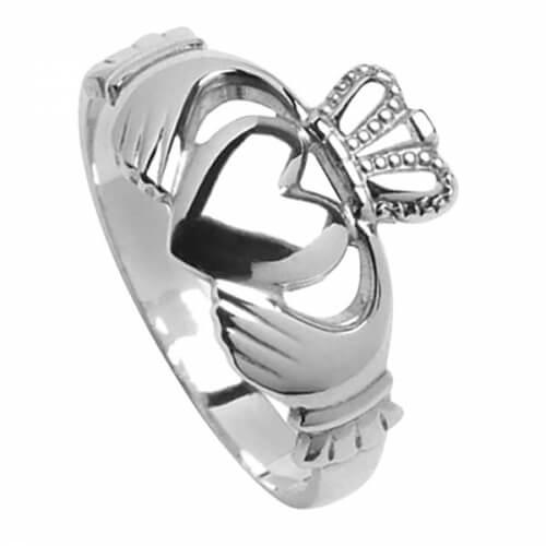 Mens Big Claddagh Ring - Silver