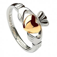 Silver Claddagh Ring with 10K Gold Heart