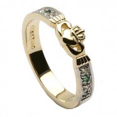 Claddagh CZ Emerald Ring - Yellow Gold