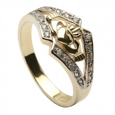 Claddagh Ring with CZ Trim - Yellow Gold