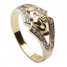 Claddagh Ring mit KZ-Besatz - Gelbes Gold