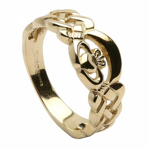 Solid Styled Claddagh Ring - Yellow Gold