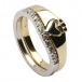 Claddagh Two Tone Ring with CZ Trim - Yellow and White Gold
