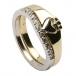 Claddagh Zwei-Ton-Ring mit KZ-Trim - Gelb- und Weißgold
