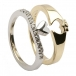 Claddagh Two Tone Ring with CZ Trim