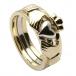 Drei Stück Gold Claddagh Ring - Gelbes und weißes Gold