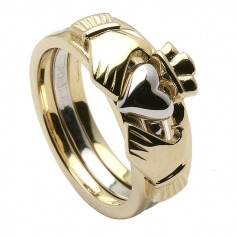 Three Piece Gold Claddagh Ring - Yellow and White Gold