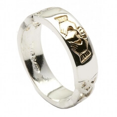 Celtic Claddagh Inset Ring - Sterling Silver