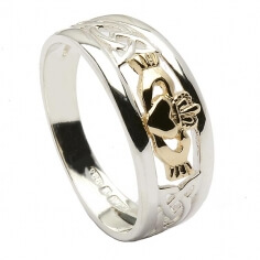 Trinity Knot Claddagh Ring - Silver and Gold