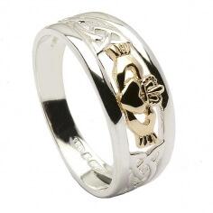 Dreifaltigkeitsknoten Claddagh Ring - Silber und Gold