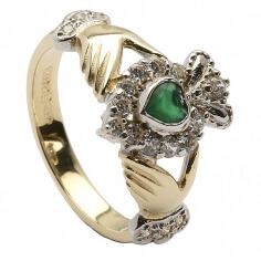 Claddagh Edelstein Cluster Ring - Gelbgold