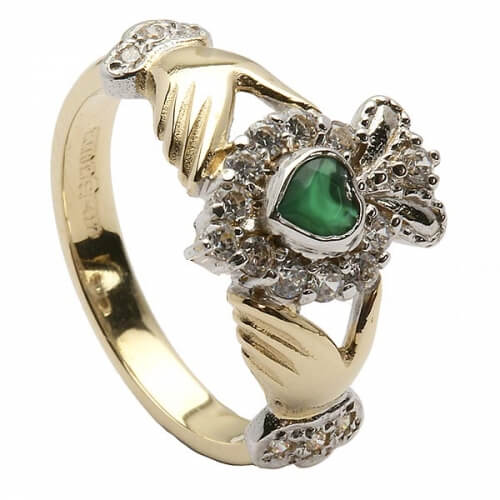 Claddagh Gemstone Cluster Ring - Yellow Gold