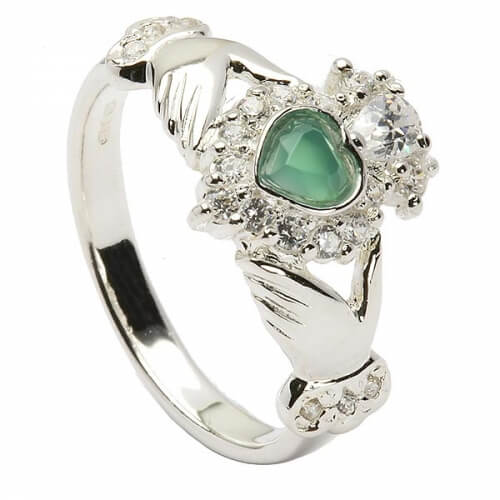 Claddagh Agate CZ Ring - Sterling Silver
