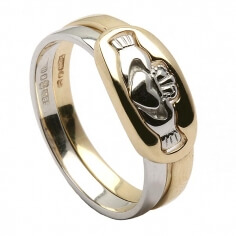 Two Piece Claddagh Ring - Yellow and White Gold