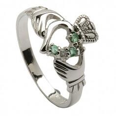 Modern Claddagh Emerald Ring - White Gold