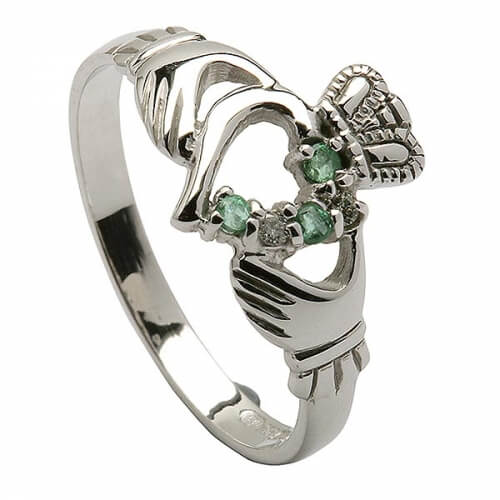 Modern Claddagh Emerald Ring - White Gold