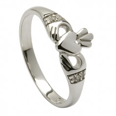 Modern White Gold Claddagh Ring
